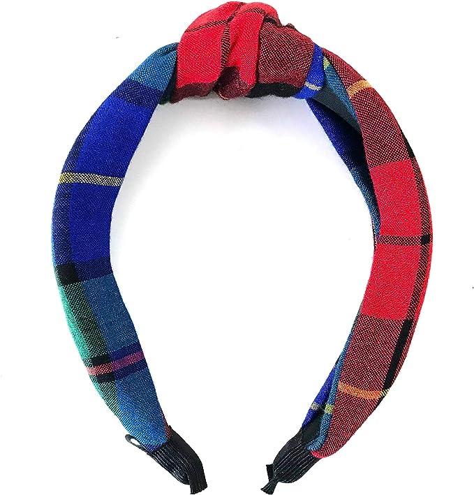 Baby Shower Wrap Headband Christmas Plaid Headband Flannel Headband Red Plaid Headband Plaid Flannel Headband Vintage Knot Headband