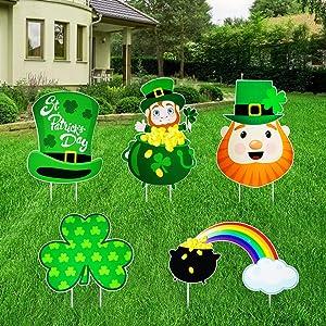 5 Pcs St. Patrick's Day Yard Sign Decorations - Exquisite Irish Leprechaun/Shamrock/Hat Outdoor Lawn Decoration - Reusable St. Patrick's Day Garden Decor - Oversized St. Patrick's Day Decorations