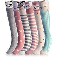 NFACE Cartoon Animal Cat Bear Fox Calcetines hasta la rodilla hasta la pantorrilla, 6 colores, talla única
