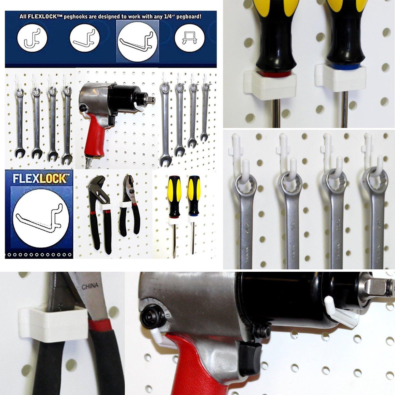 assorted white peg hooks garage storage u0026 tool organizer office products