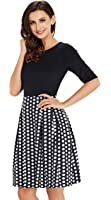 UniSweet Womens Vintage Patchwork Puffy Swing Wear to Work Casual Party Cocktail Dress