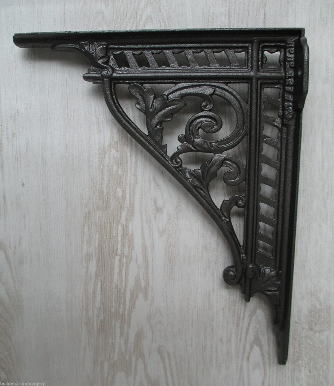 "PAIR of 12/"" Cast Iron Vintage Victorian ornate shelf Bracket Sink Cistern"
