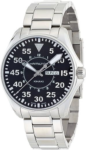 ساعة هاميلتون للرجال H64611135 كاكي بايلوت مينا سوداء بخاصية عرض التاريخ واليوم