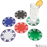12 Casino Party Bar Drink Beverage Paper Poker Chip Coasters