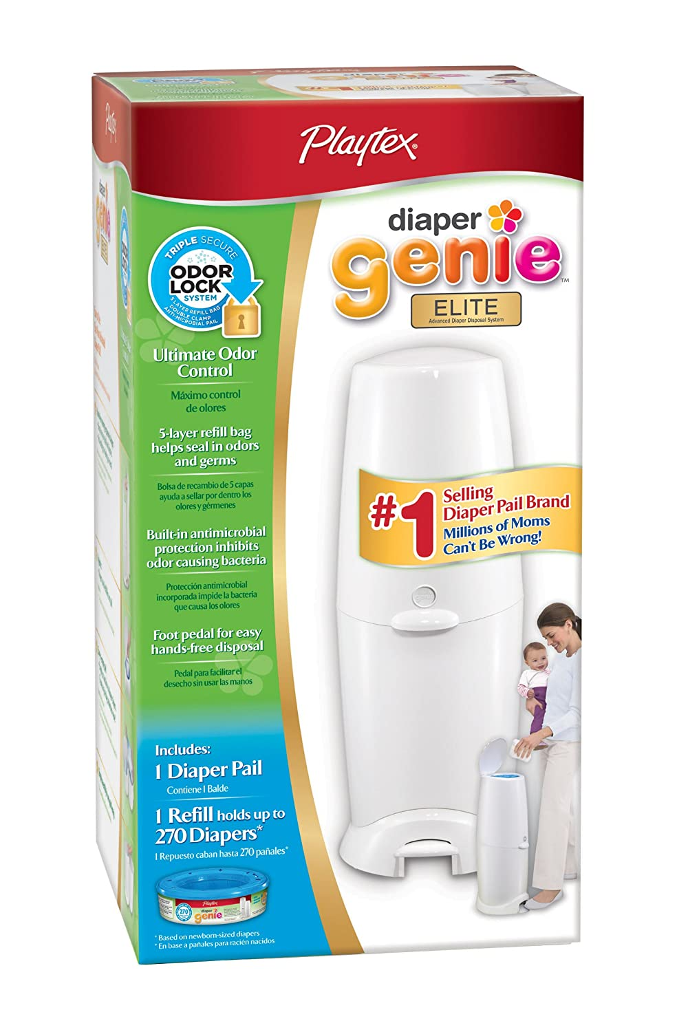 Amazon.com : Playtex Diaper Genie Elite Diaper Disposal Pail, White  (Discontinued by Manufacturer) : Baby Diapers : Baby