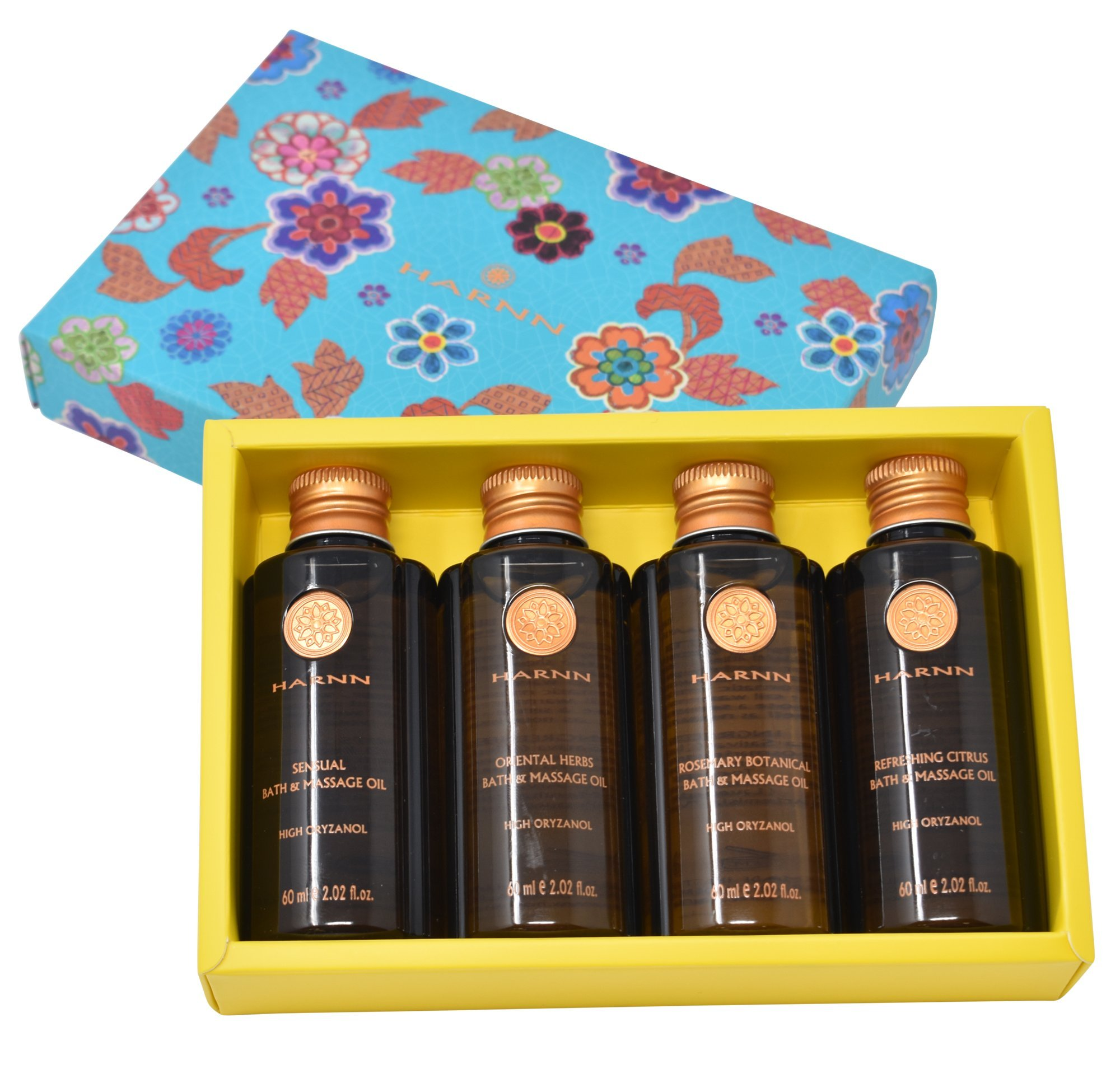 Harnn Euphoria Natural Massage Oils Set Sensual Massage Oils for Skin Therapy with Herbs, Rosemary and Citrus (2.02 fl. Oz) Set of Four,