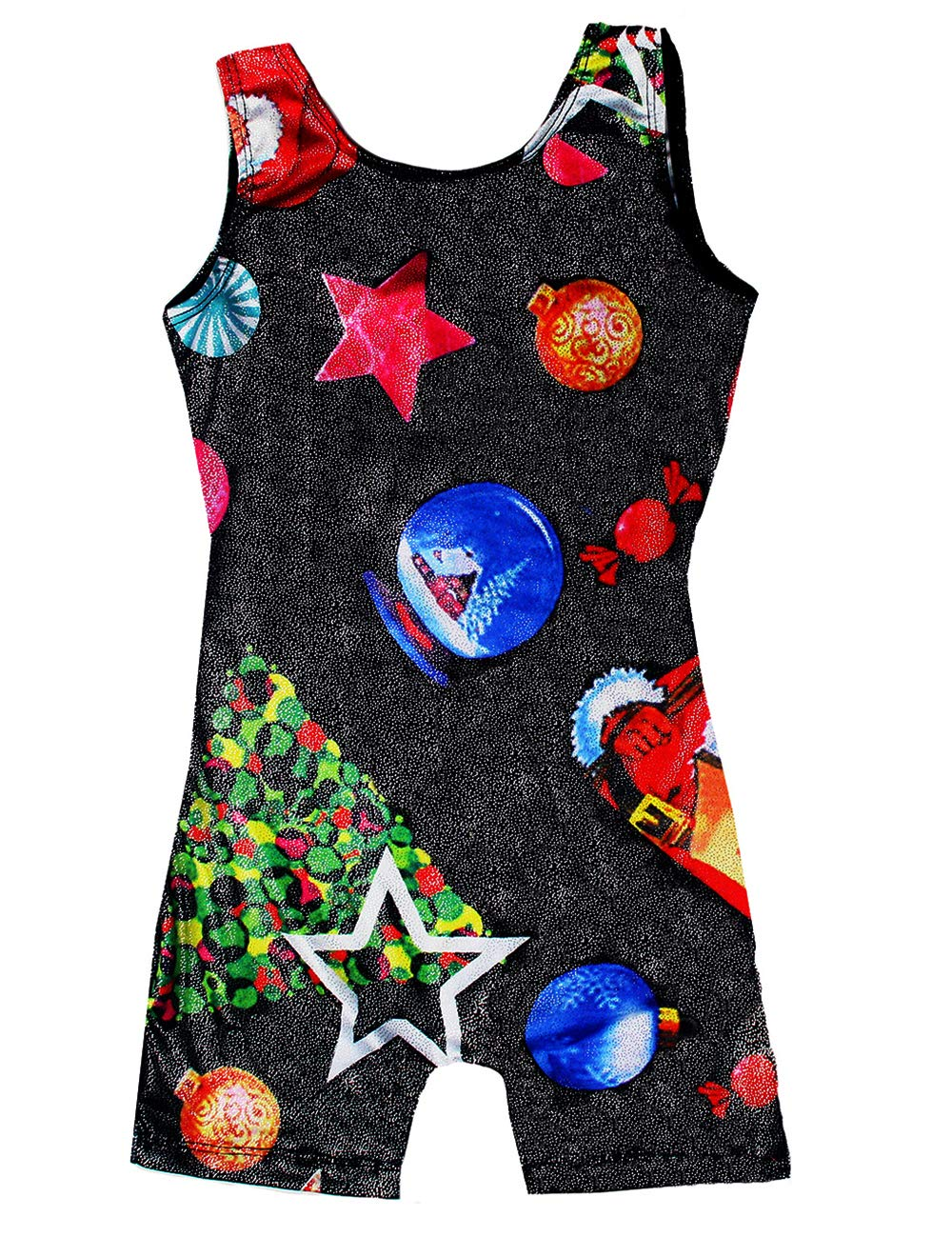 Midout One-Piece Gymnastic Leotards for Toddler Girls 2t 3t 4t Sparkly Christmas Kids Toddler Biketard Unitard with Short Black