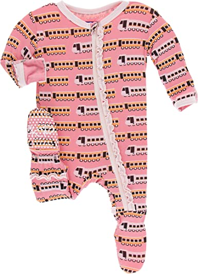 KicKee Pants Print Muffin Ruffle Footie with Zipper Paleontology Collection