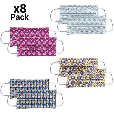 Pack 8 - Mascarillas para niños Higienizantes Reutilizables con licencia - 10 lavados - Fabricadas en España (3-6 años, Pocoyo)