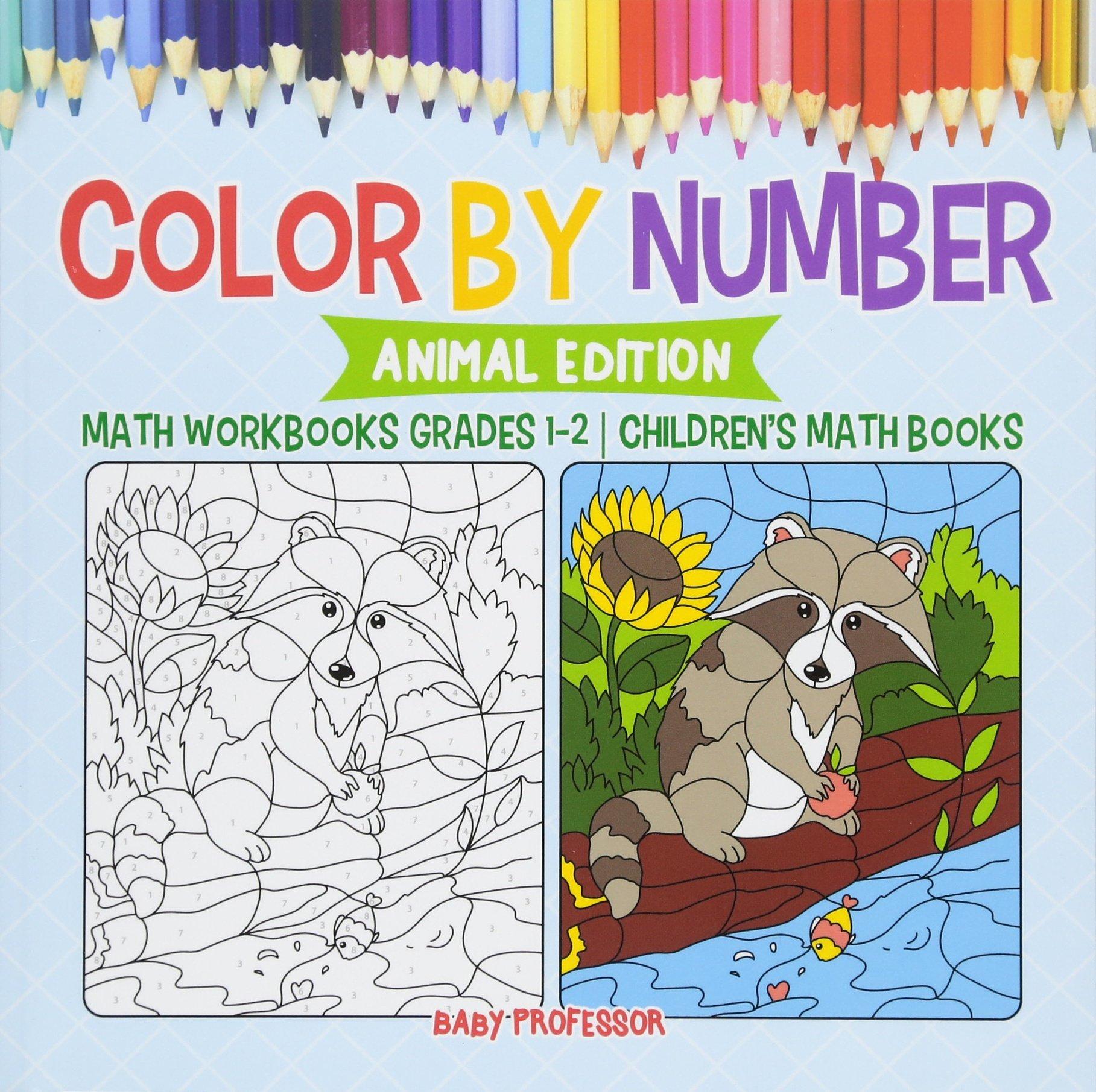 Download Color by Number : Animal Edition - Math Workbooks Grades 1-2  Children's Math Books pdf