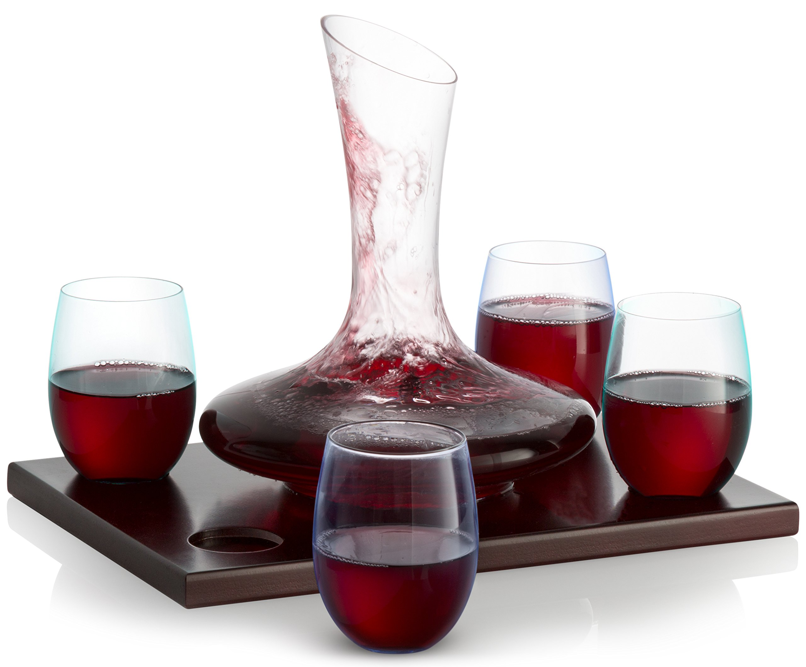 Royal Decanters Wine Decanter Set with Wood Base - With 750ml Crystal Glass Decanter and 4 Stemless Wine Glasses - Great Gift and Beautiful Display Piece for Red or White Wine - Patent Pending Design by Royal Decanters