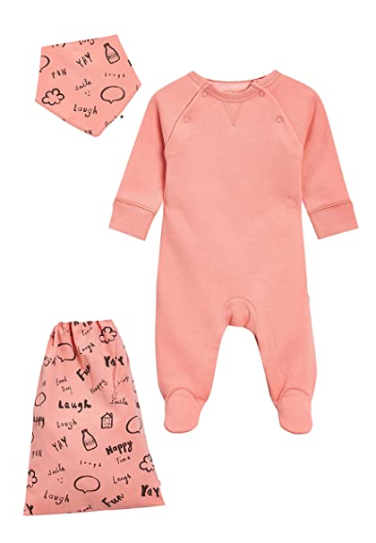 next Bebé-Niñas Pijama Tipo Pelele con Cuello Redondo, Babero Y Bolsa (0