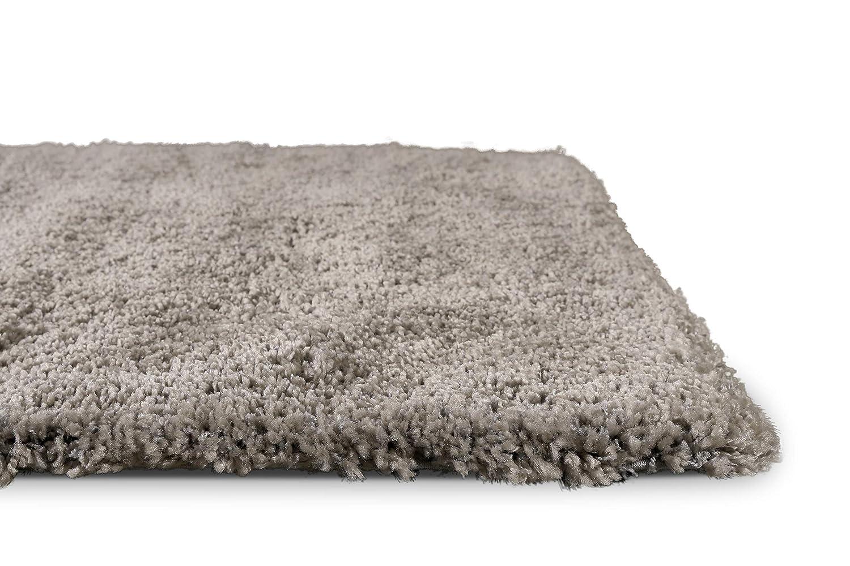 Homie Living Moderner glänzender Hochflor (80 x 150 cm, grau Taupe) Shaggy Teppich Uni einfarbig Ancona