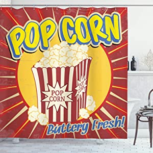 Ambesonne Retro Shower Curtain, Vintage Grunge Pop Corn Commercial Print Old Fashioned Cinema Movie Film Snack, Cloth Fabric Bathroom Decor Set with Hooks, 75