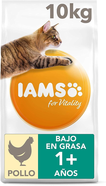 IAMS for Vitality Alimento bajo en grasa para Gatos Esterilizados con pollo fresco, 10 kg