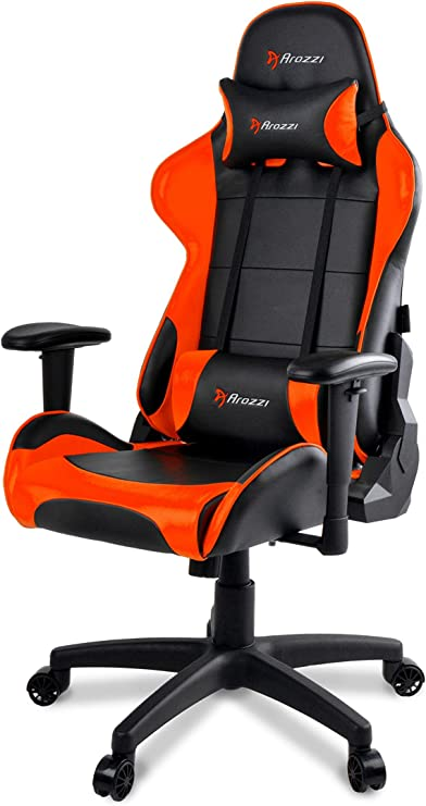 Arozzi Verona V2 Advanced Racing Style Gaming Chair with High Backrest, Recliner, Swivel, Tilt, Rocker and Seat Height Adjustment, Lumbar and Headrest