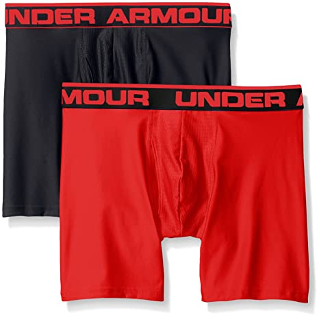 "Under Armour Mens Original Series 6"" Boxerjock 2-Pack, Black/Red,"