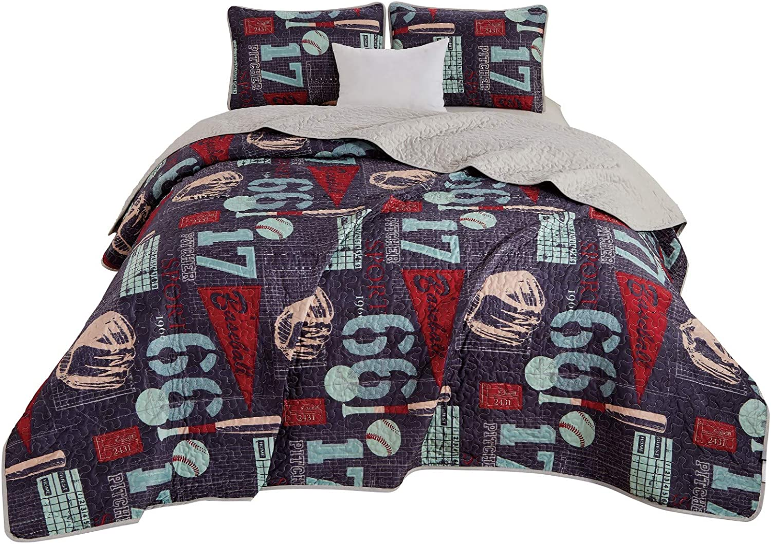 Chezmoi Collection 3-Piece Kids//Teens Sports Bedspread Quilt Set Full//Queen Size Soft Microfiber Navy Blue Black Orange Red White Basketball Football Soccer