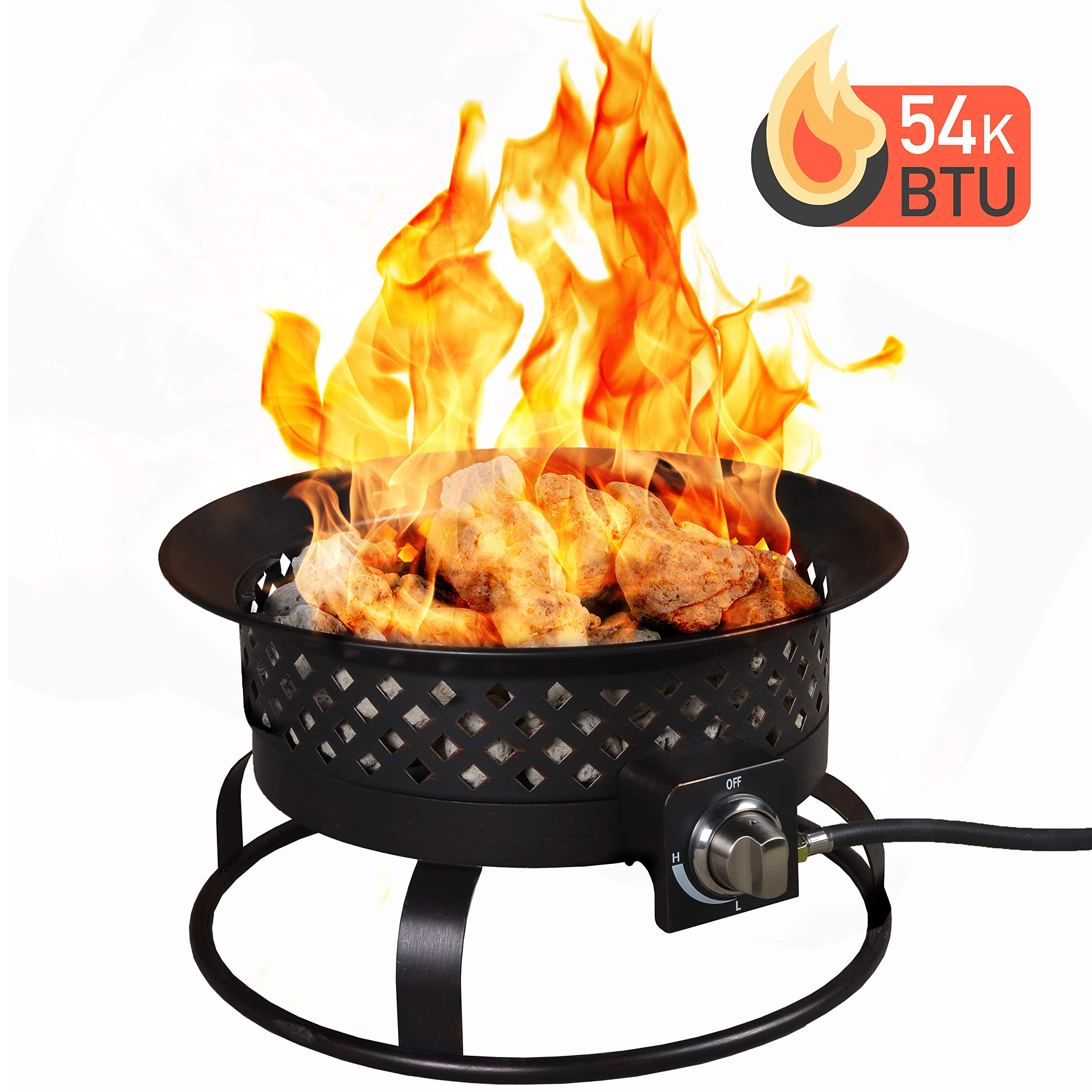 Bond Manufacturing 67836 54,000 BTU Aurora Camping, Backyard, Tailgating, Hunting and Patio. Locking Lid & Carry Handle Portable Steel Propane Gas Fire Pit Outdoor Firebowl, 18.5'', Bronze by Bond Manufacturing