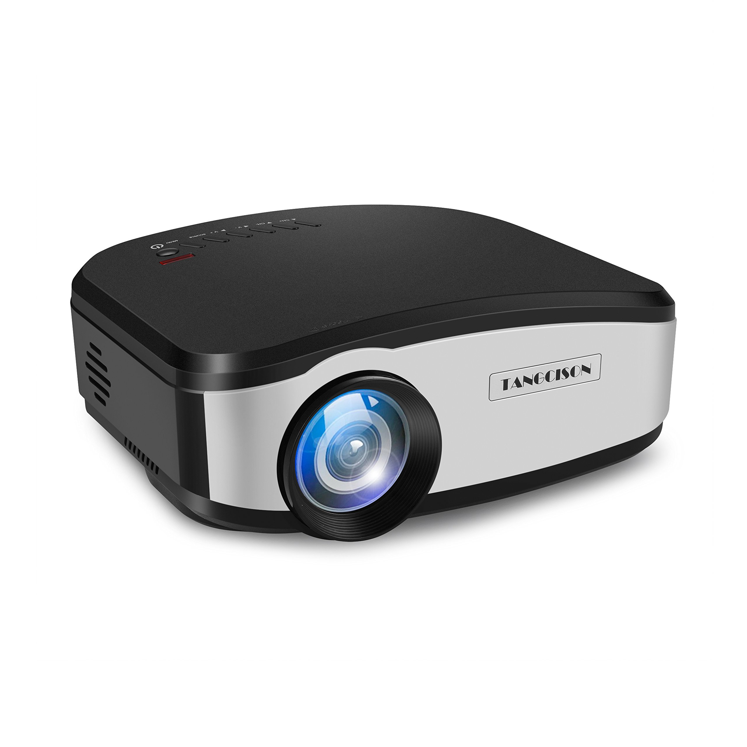 TANGCISON Video Projector,LCD Projector 1500Luminous 160''HD 1080P Projector Multimedia Home Theater Movies Projector for Cinema TV Laptop Game With HDMI USB VGA AV Input (Black)