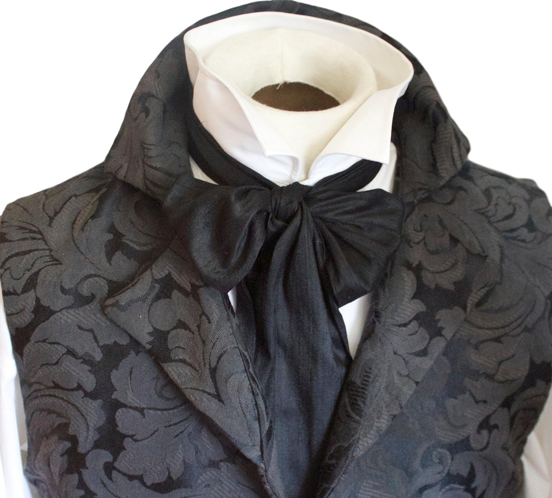 9e10c05e86d3 dupioni silk (mild slub) in midnight black. Cravat length approx. 52 inches  (132 cm), paddle width approx. 4 inches (10 cm). Self tie cravat (pins sold  ...