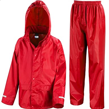 fcf5c116bbbb0 Kids Waterproof Jacket & Trousers Suit in Black, Pink, Red or Royal Blue Childs  Childrens Boys Girls: Amazon.co.uk: Clothing
