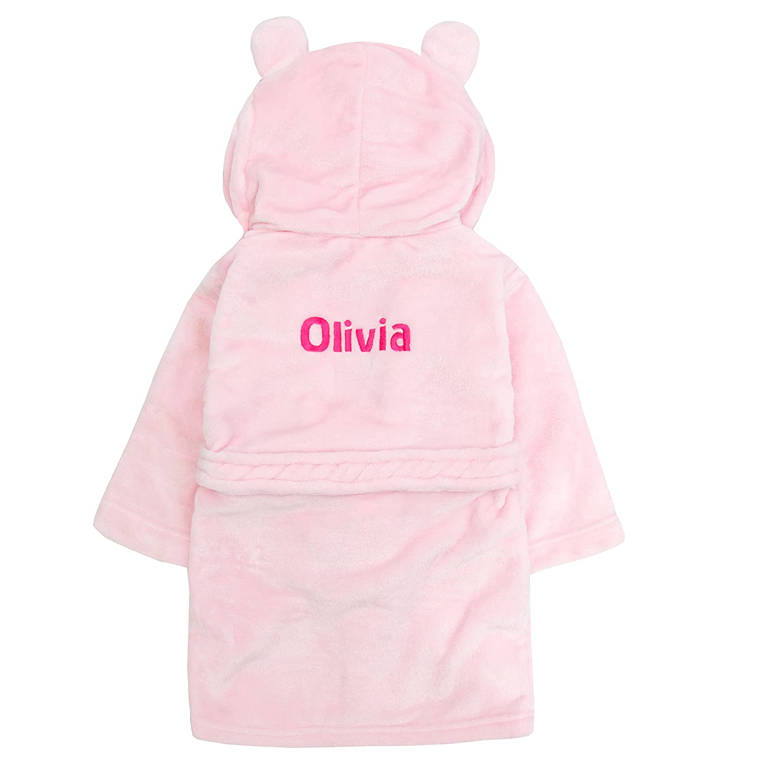 Embroidered Personalised Soft Baby Pink Dressing Gown Bath Robe with Teddy EARS 6 Months-5 Years
