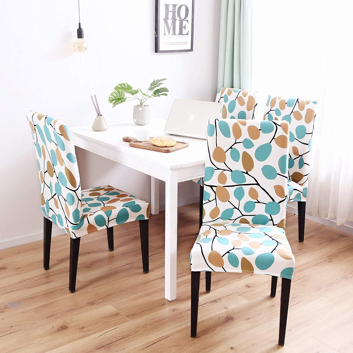Enova Home Modern Elegant Polyester And Spandex Stretch Washable Removable Dining Chair Slipcover 4 Light Blue Soft And Stretchy Slipcover Dining Chair Slipcovers