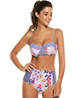Avidlove Women's Sexy Floral Print High Waist Bandage 2PCS Bikini Set Bathing Suit