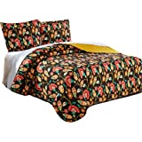 DaDa Bedding Collection Marigold's Elegant Autumn Garden Reversible Quilted Coverlet Bedspread Set - Bright Vibrant Floral Multi Colorful Solid Mustard Yellow & Brown - Cal King - 3-Pieces.