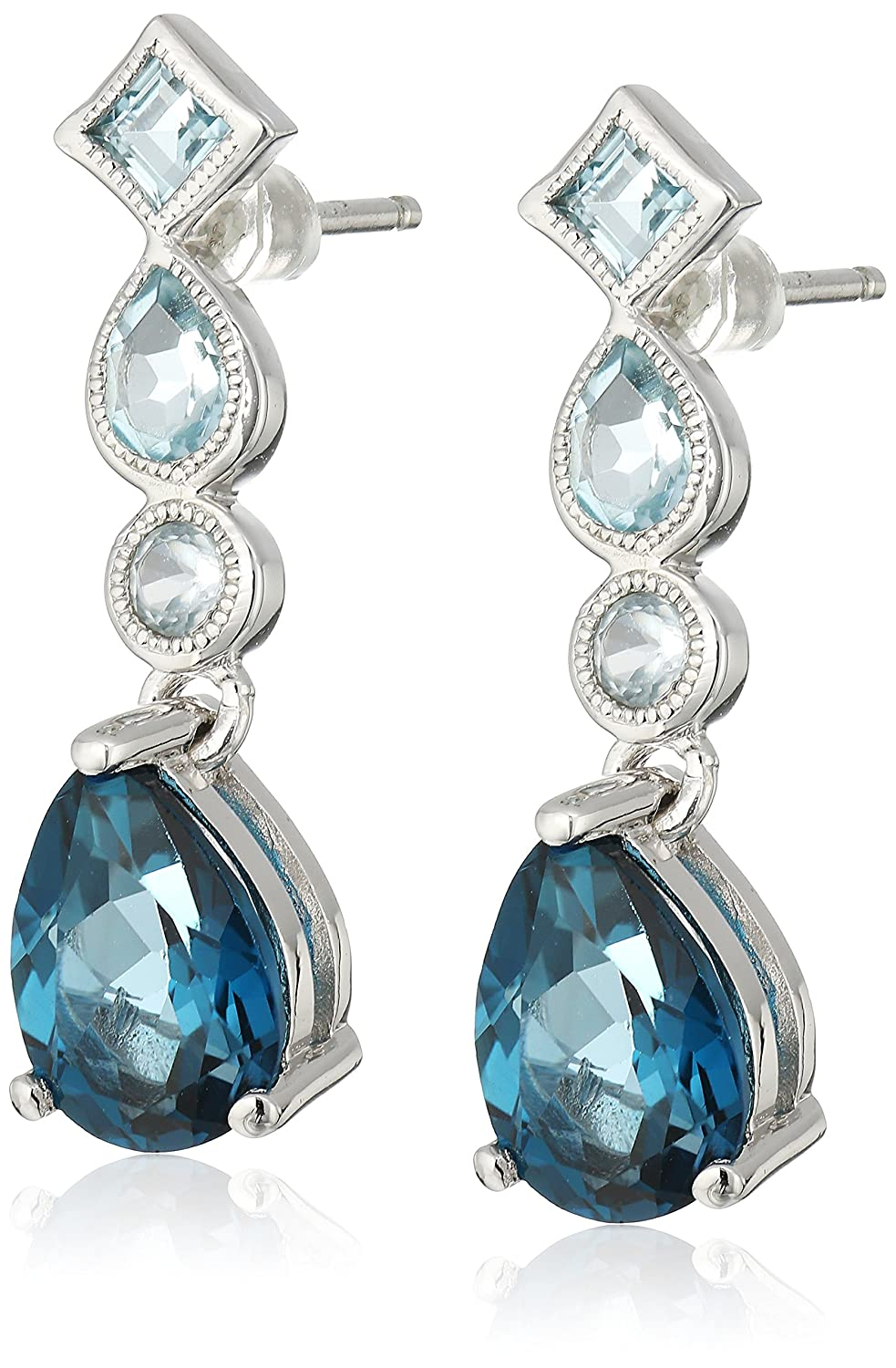 blue product earrings gem in gemstone gallery asos jewelry lyst drop