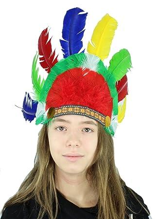 Indianerset Kostum Indianer Kopfschmuck Stirnband Bunte Federn Feder
