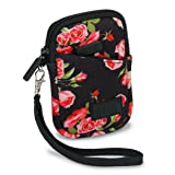 USA Gear Compact Camera Case Bag for Canon PowerShot SX720 HS, SX620 HS, ELPH 190 is / 170 is, Nikon Coolpix S33, AW130 & More - Battery & Memory Storage, Scratch & Weather Resistant - Floral