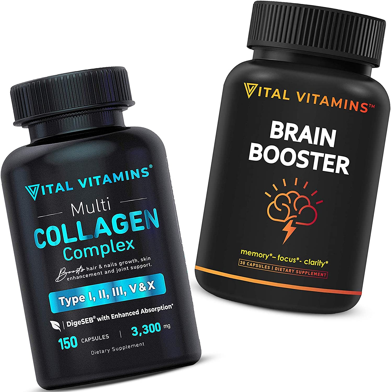 Brain Supplement Nootropics Booster and Multi Collagen Pills (Types I,II,III,V,X) Bundle