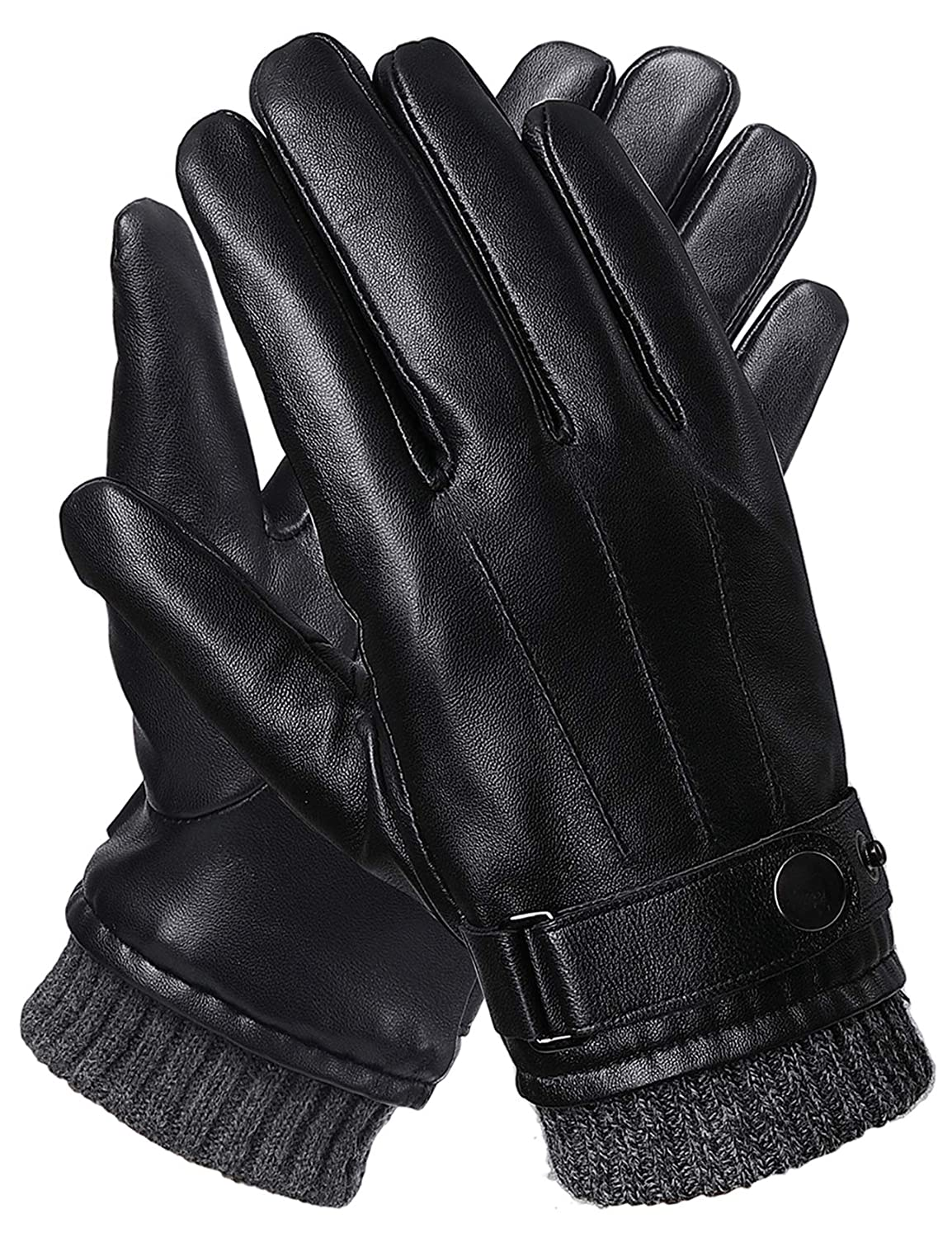Full-hand Touchscreen Gifts Boxes Driving Texting Black Winter Gloves Mens Leather Gloves M