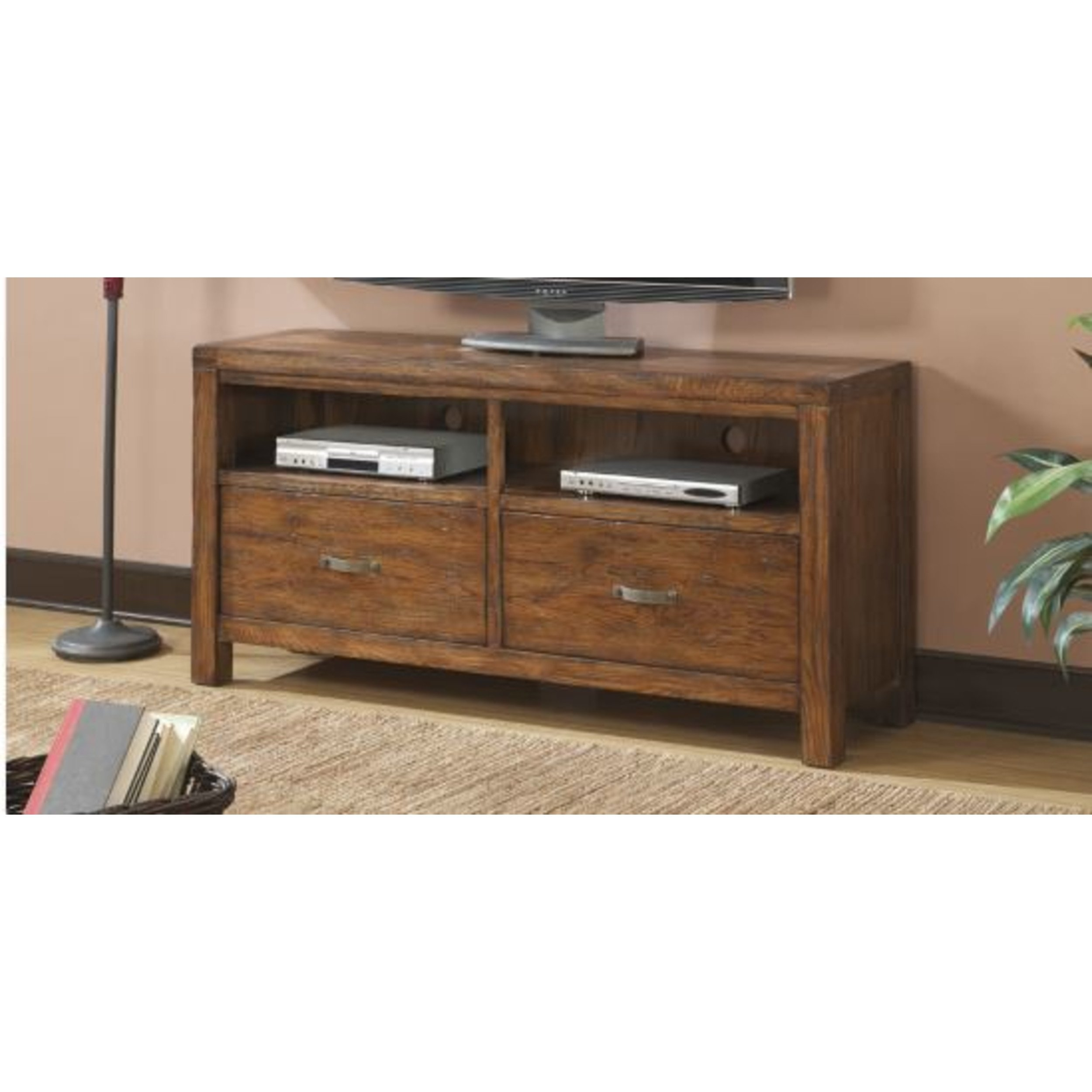 Emerald Home Brown TV Console with Two Drawers and Open Shelving