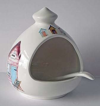 Diseño de casetas de salero. Porcelana de cerámica con cuchara de cerdo: Amazon.es: Hogar