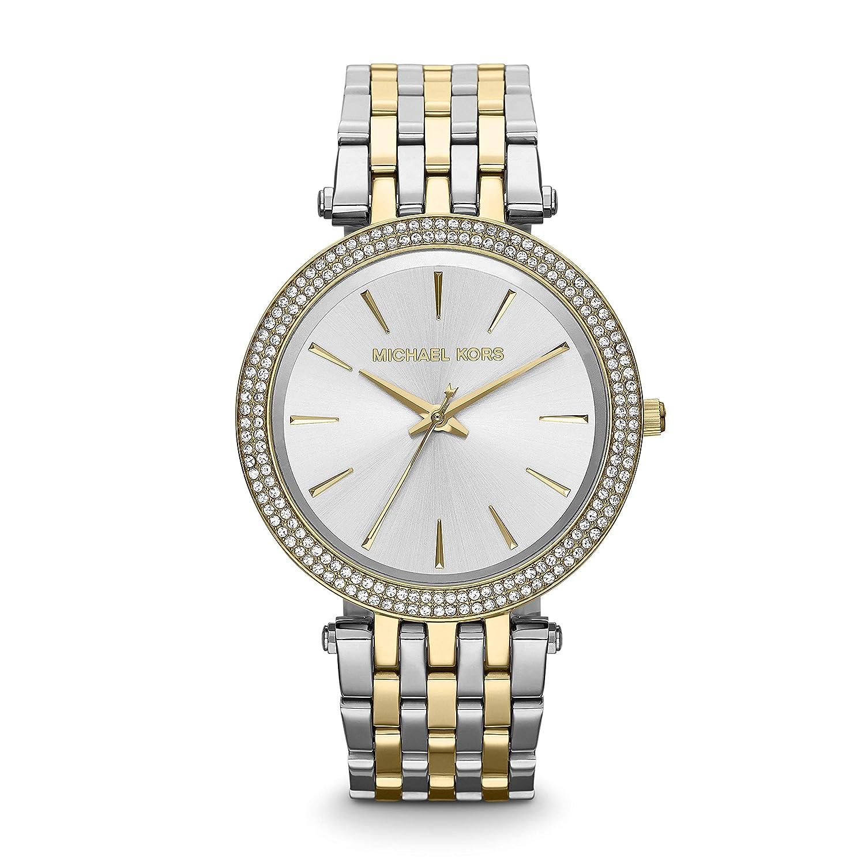 Michael Kors Darci Mid-Size Goldtone and Silvertone Stainless Steel Three-Hand Glitz Watch