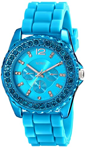 Strap Xo8043 Rhinestone Accent Silicone Turquoise Xoxo Watch Women's lK3TFc1J