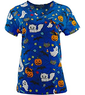 angeliqe ny halloween scrub tops holiday prints sizes xs 2xl medical nursing nwt