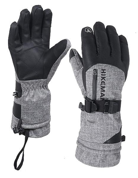 05a9a5a6e2 HIKEMAN Winter-Skihandschuhe mit Tasche, wasserdicht, atmungsaktiv,  Thinsulate-Handschuhe, warme