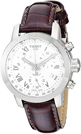 Tissot Women s  PRC 200  Swiss Quartz Stainless Steel and Leather Dress  Watch 37fd52a9b2