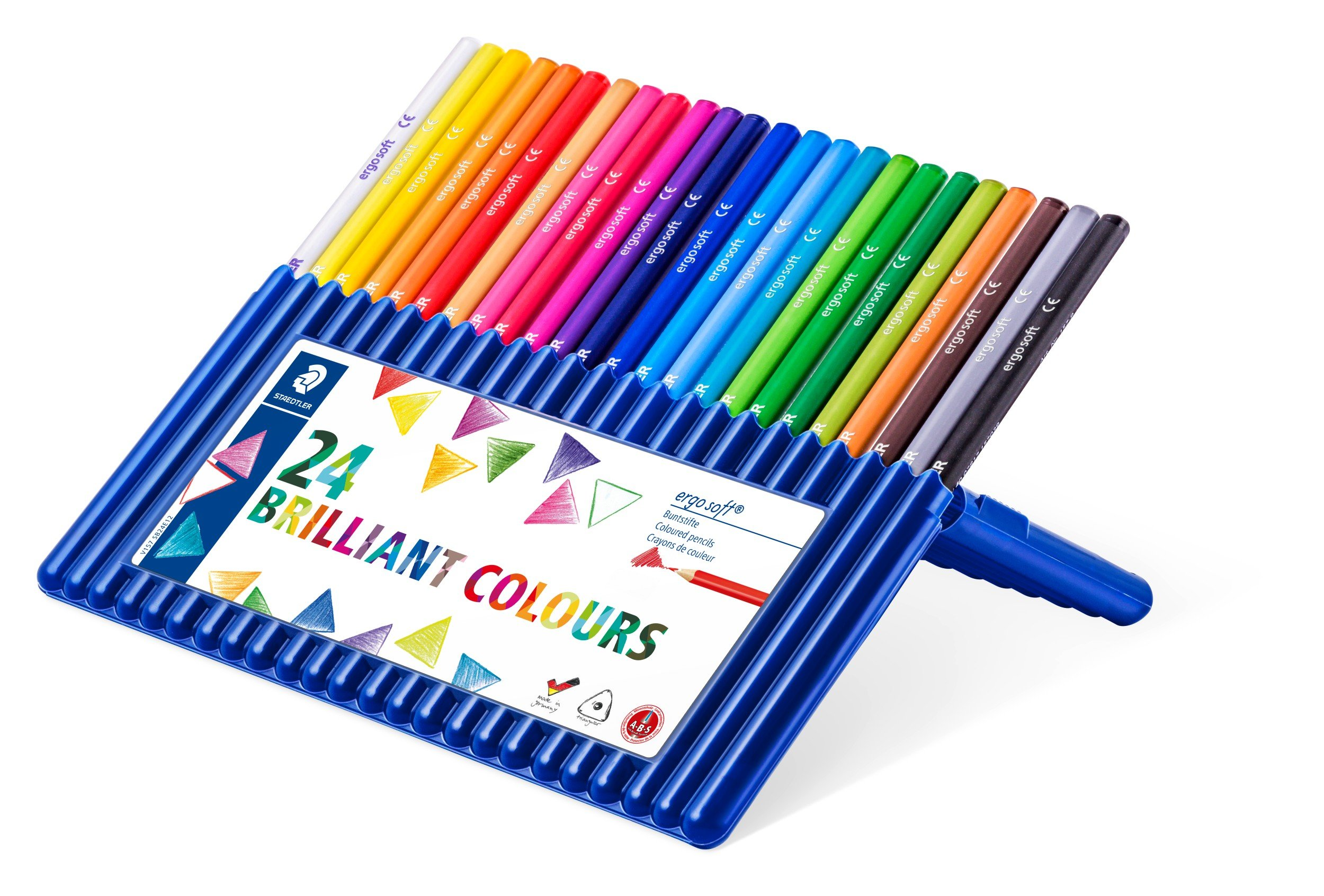 Staedtler Ergosoft Colored Pencils, Set of 24 Colors in Stand-up Easel Case (157SB24) by STAEDTLER