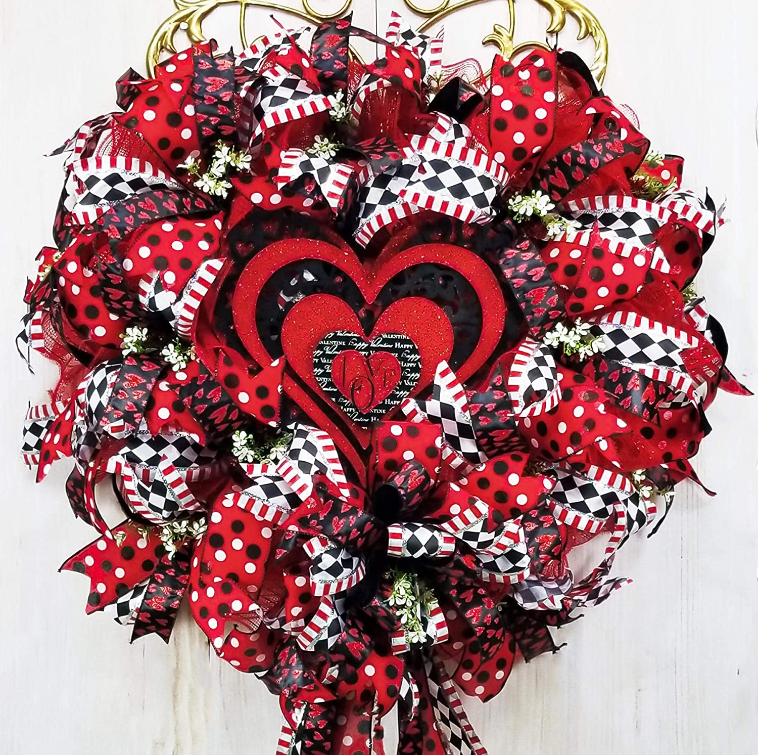 Red and White Valentines Day Heart Cookie Cutter Wreath Heart Decor Heart Door Hanger Heart Wreath Valentines Day Decor