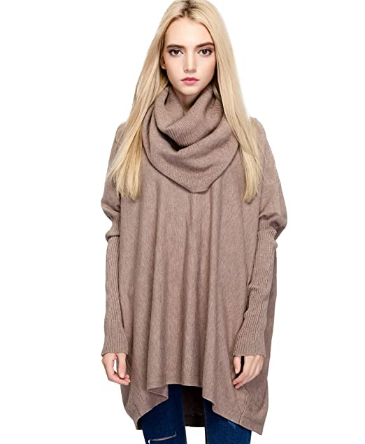 99c021cc87 Woo Spotlight Womens Sweaters Cowl Neck Turtleneck Oversized Loose Batwing  Knit Pullover (Khaki)