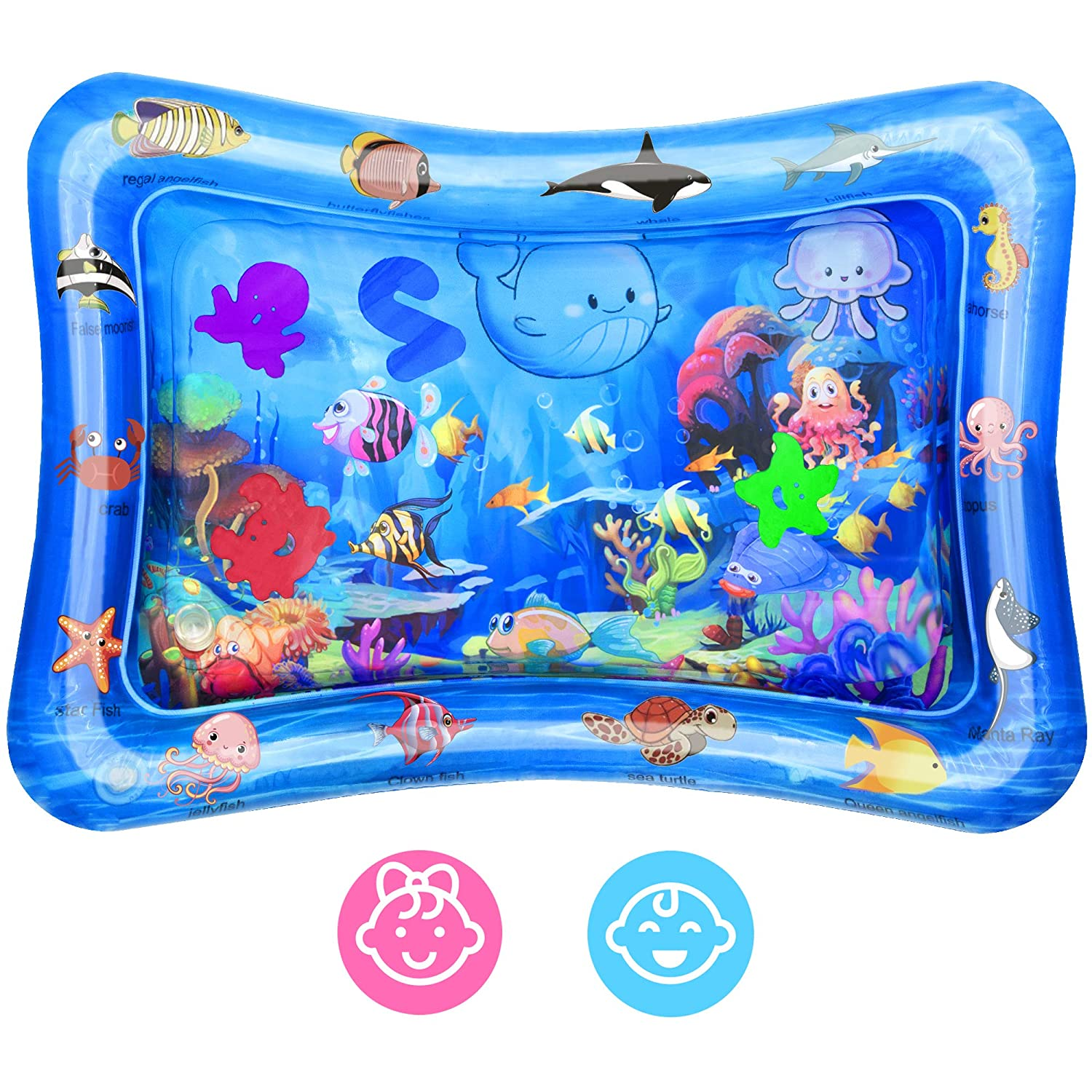 Bright One Tummy Time Water Play Mat Sensory Baby Toy for Boys and Girls Inflatable Play Mat for Infants and Toddlers