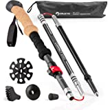 Cruzyo SPRING SALE ! Trekking Hiking Pole Collapsible 3K Carbon Fiber & 7075 Aluminum | Ultralight Folding Walking Stick With Natural Cork Grip & Quick-Lock | Best For Women Or Kids - 1 (one) Pole by