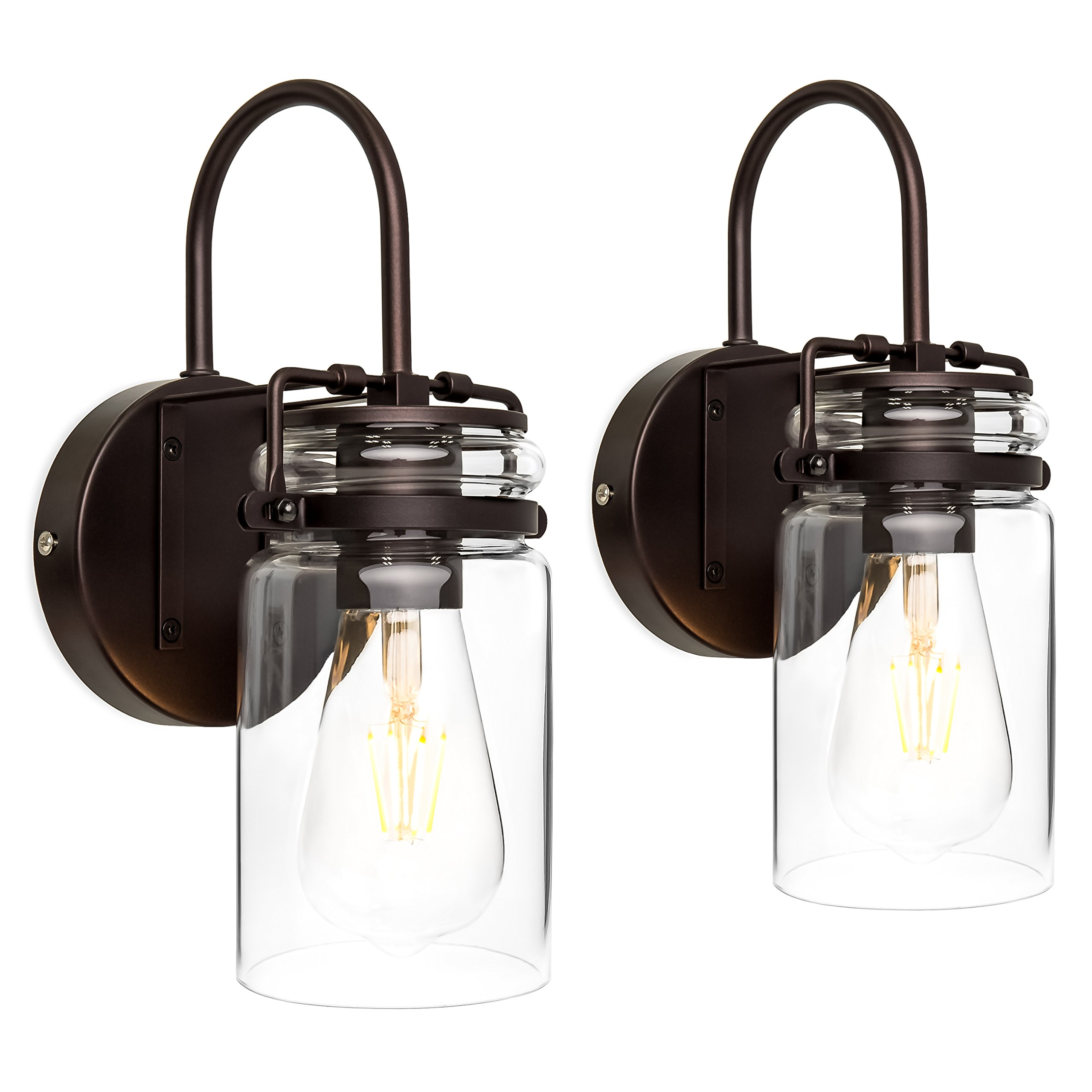 Best Choice Products Set of 2 Industrial Metal Hardwire Wall Light Lamp Sconces w/Clear Glass Jar Shade - Bronze