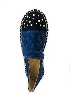 DENIM ESPADRILLE WOMEN LOVELY FLAT SHOES WHIT WHITE PEARLS.ALPARGATAS DENIM DE MUJER DECORADAS CON