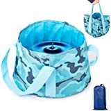 Overmont 15L Portable Collapsible Outdoor Wash Camping Folding Basin Bucket for Camping Hiking Fishing Travel (Blue/Orange/Pink/Green)